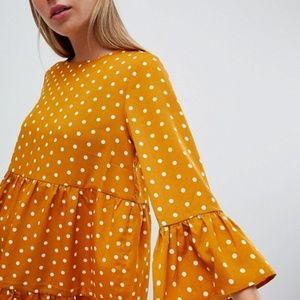 ASOS QED London mustard frill detail shift dress